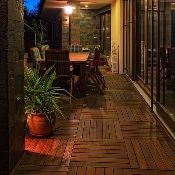 Thermory Decking Tiles in Outdoor Living Room