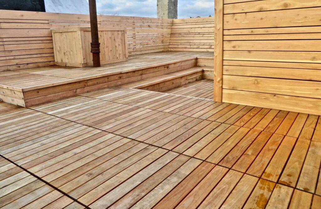 Urban Rooftop Retreat with Black Locust Deck Tiles