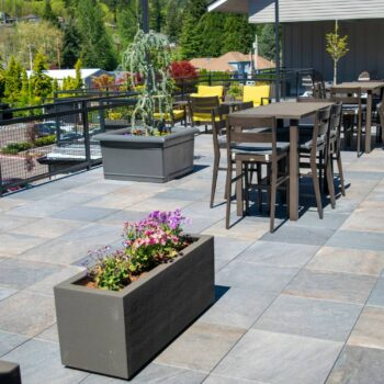 Commercial Rooftop Deck with Porcelain Pavers and Dining Area