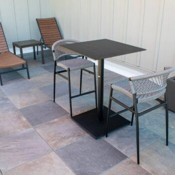 Rooftop Deck Outdoor Seating Area with Porcelain Paver Decking